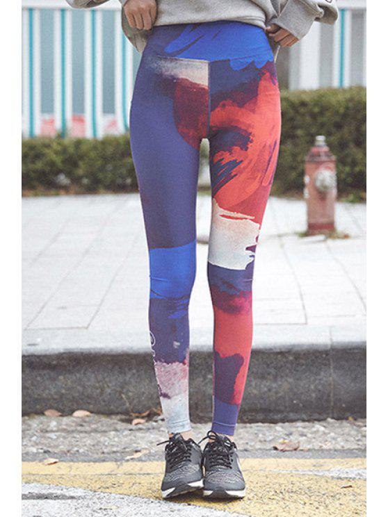 Trendy taille élastique Fitness Super-élastique Pantalon de yoga colorés pour les femmes - Multicolore M