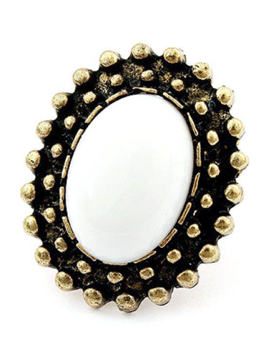fashion Elliptical Faux Gem Inlay Retro Ring - WHITE
