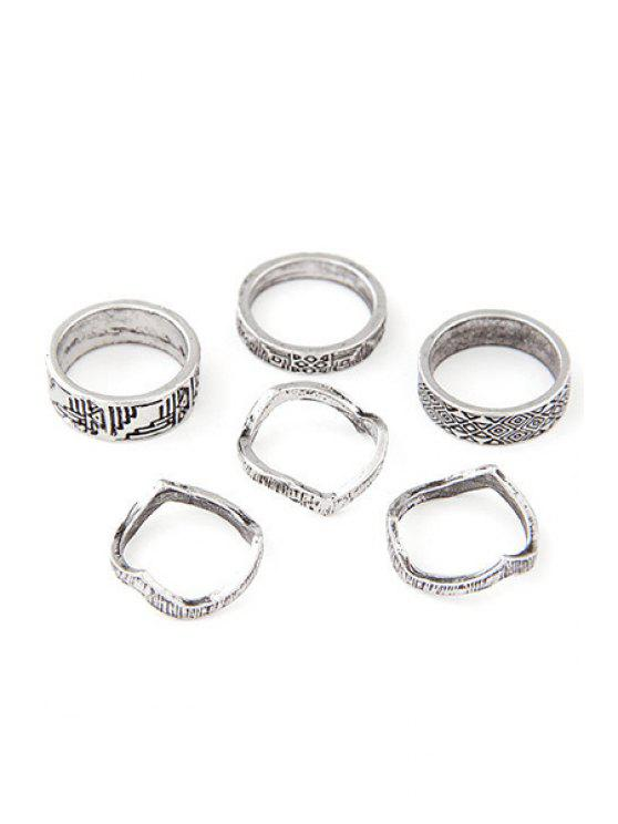 outfit Tribal Style Carve Golden Rings - SILVER ONE-SIZE