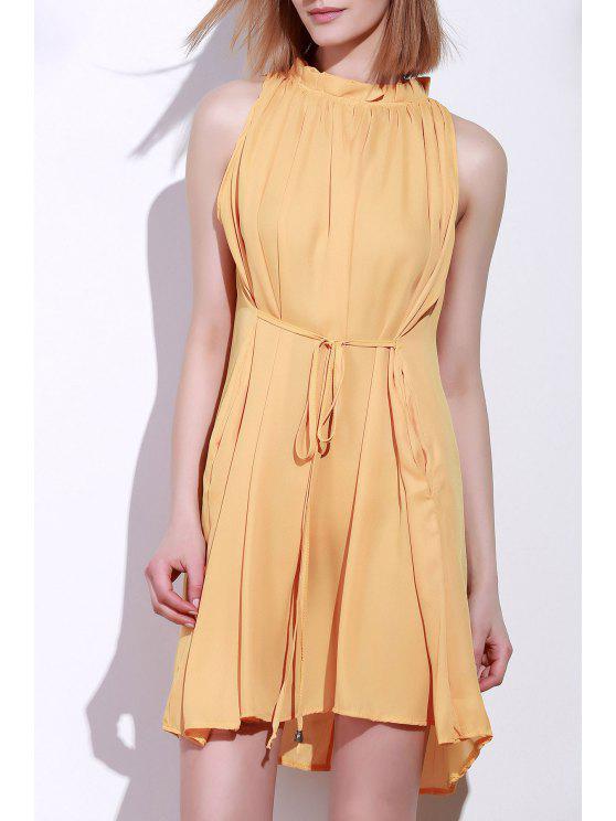 women Round Neck Ruffle Tie-Up Sleeveless Dress - DEEP YELLOW XL