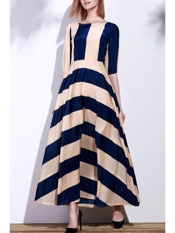 womens Striped Scoop Neck 3/4 Sleeve Maxi Dress - DEEP BLUE S