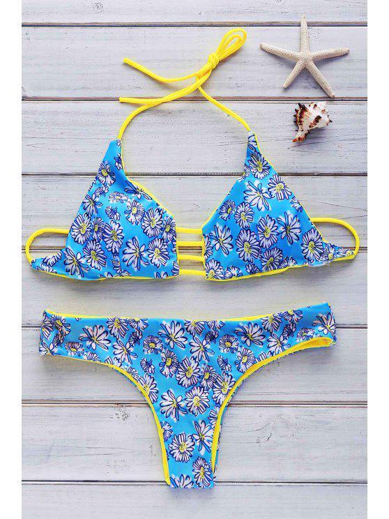 e08a987fcfba Halter Flowers Print Reversible Bikini Set