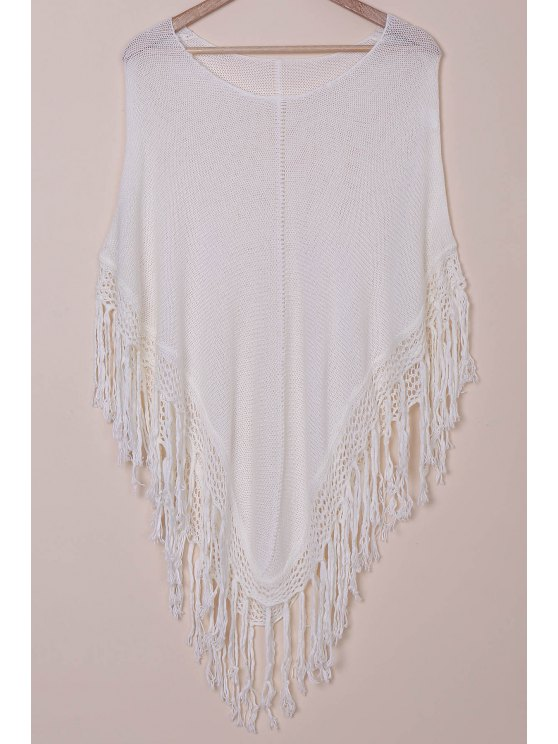online Open Knit Tassels Poncho Cover Up - WHITE ONE SIZE(FIT SIZE XS TO M)