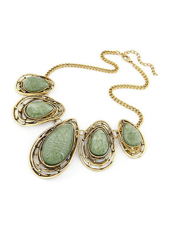new Faux Gem Water Drop Retro Style Necklace - GREEN