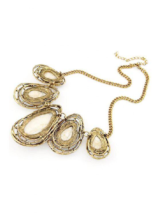 online Faux Gem Water Drop Retro Style Necklace - WHITE