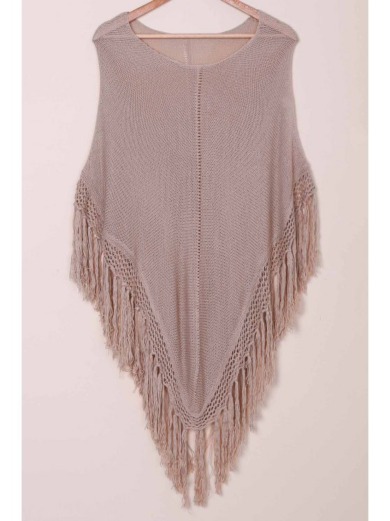 best Open Knit Tassels Poncho Cover Up - KHAKI ONE SIZE(FIT SIZE XS TO M)