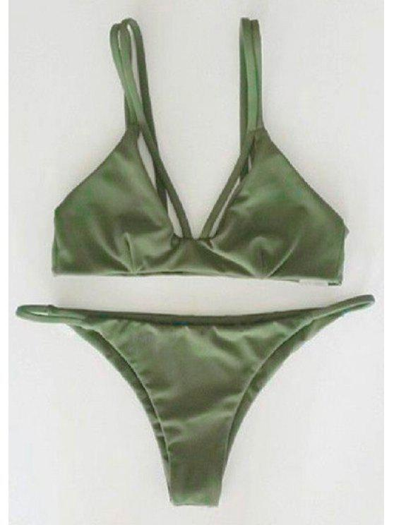 fancy Alluring Spaghetti Strap Scrunch Bikini Set - GREEN M