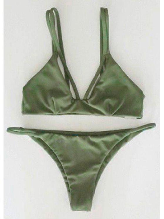 fancy Alluring Spaghetti Strap Scrunch Bikini Set - GREEN M