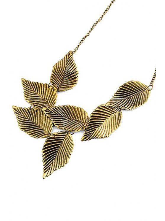 unique Leaf Shape Retro Style Necklace - GOLDEN