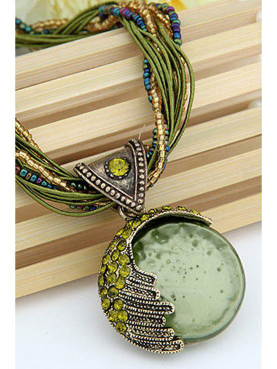 chic Faux Gem Multilayered Ethnic Style Necklace - GREEN