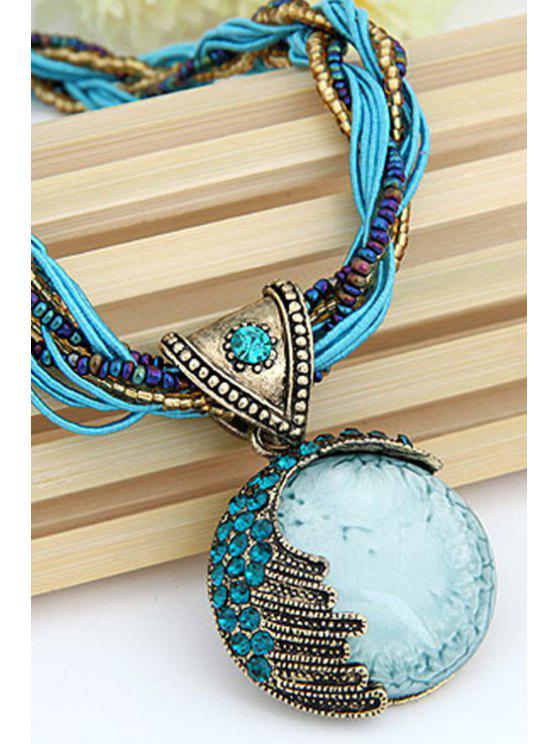 fashion Faux Gem Multilayered Ethnic Style Necklace - BLUE