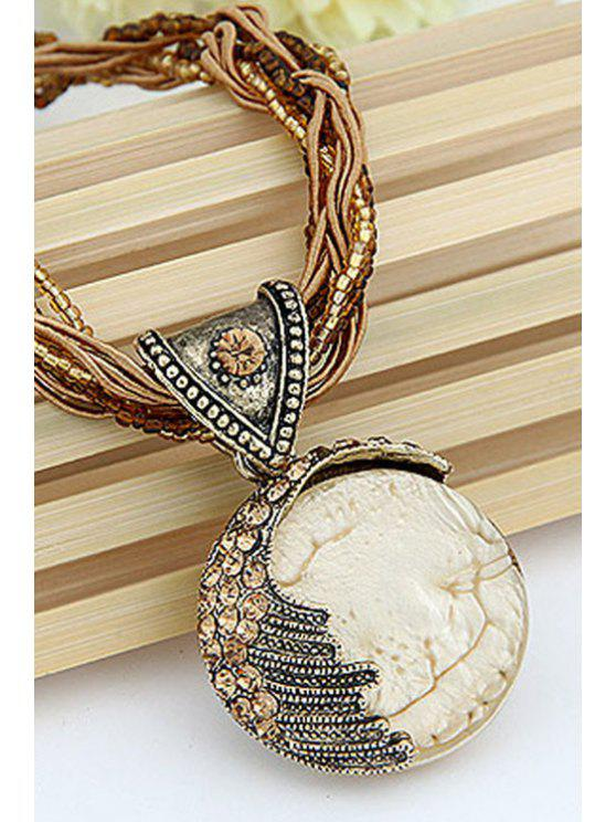 trendy Faux Gem Multilayered Ethnic Style Necklace - WHITE