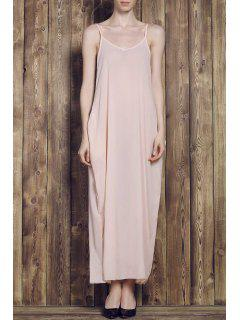 Solid Color Cami Maxi Dress - Apricot M