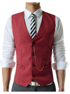 Men's Single Breasted Solid Color Waistcoat With Chain - Red Xl