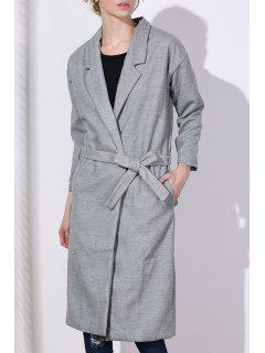 Lapel One Button Solid Color Trench Coat - Gray M