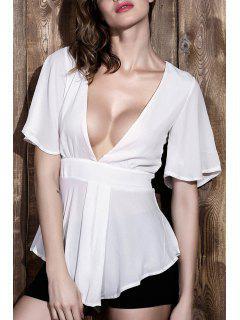 Hundiendo Blanca Manga Corta Cuello Blusa De La Gasa - Blanco Xl