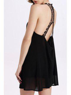 Back Cut Out V-Neck Sleeveless Mini Dress - Black M