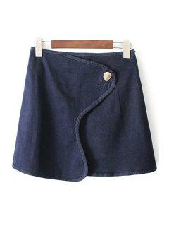 One Button Special Cut Denim Skirt - Deep Blue S