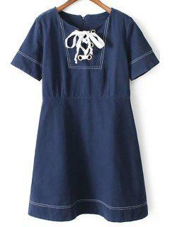 Preppy Style Contrast Stitching Blue Dress - Blue S