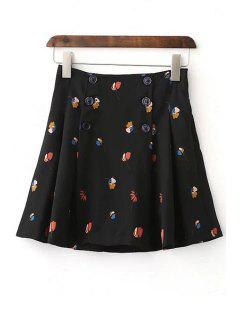 Floral Double-Breasted A Line Skirt - Black S