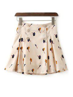 Floral Double-Breasted A Line Skirt - Beige S