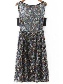 Tiny Floral Boat Neck Sleeveless Lace Dress - Black S