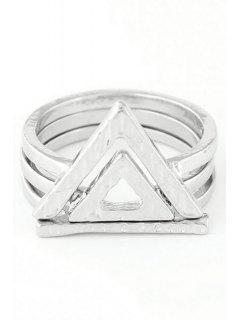 Anillos Hueco Doble Triángulo - Plata Uno De Tamaño