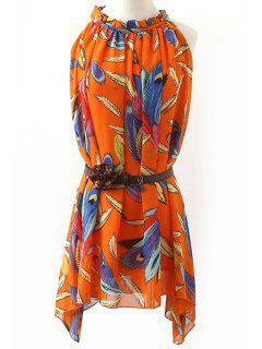 Feather Print Round Neck Sleeveless Mini Dress - S