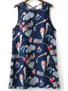 Ice Cream Print Round Neck Mini Sundress - M