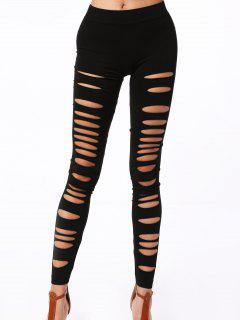 Hollow Out Elastic Leggings - Black