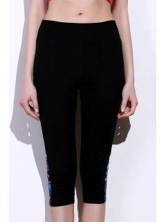 Side Panel Skinny Capri Pants - Blue And Black L