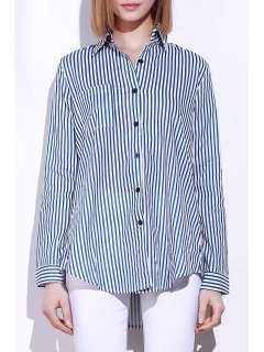 Blue White Stripes Long Sleeve Shirt - Blue And White L