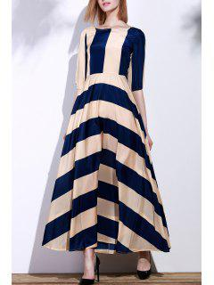 Striped Scoop Neck 3/4 Sleeve Maxi Dress - Deep Blue Xl