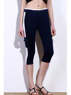 Activo Elástico De La Cintura Del Color Del Bloque De Bolsillo De Diseño De Las Mujeres Pantalones De Yoga - Azul Purpúreo L