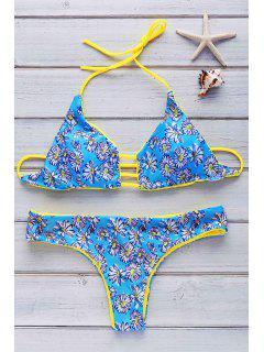 Halter Flowers Print Reversible Bikini Set - Light Blue L
