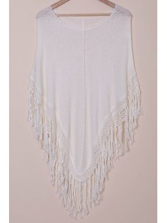 Open Knit Tassels Poncho Cover Up - White