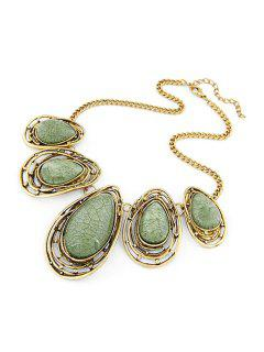 Faux Gem Water Drop Retro Style Necklace - Green
