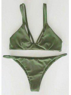 Alluring Spaghetti Strap Scrunch Bikini Set - Green S
