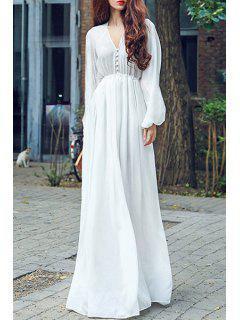 Taille Haute Encolure En V à Manches Longues En Mousseline De Soie Maxi Dress - Blanc S