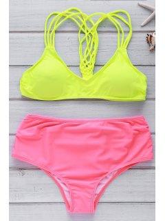 Traje De Bikini Con Tirante Fino De Color De Constraste De Playa - Amarillo M