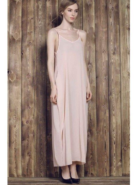 affordable Solid Color Cami Maxi Dress - APRICOT L Mobile