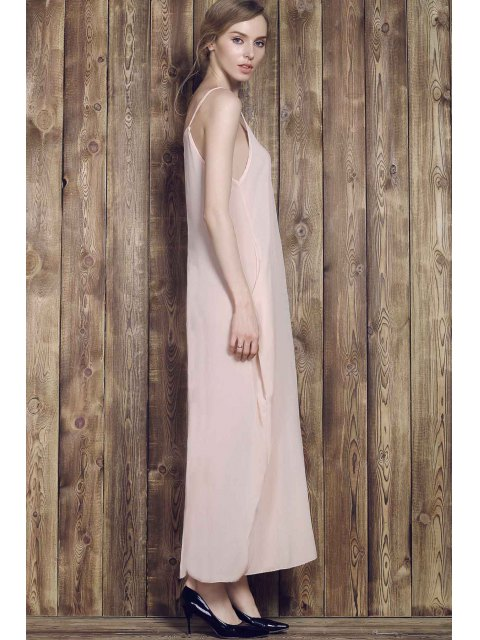 ladies Solid Color Cami Maxi Dress - APRICOT 2XL Mobile