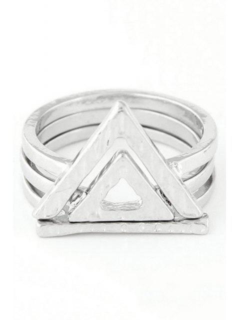hot Double Hollow Triangle Rings - SILVER ONE-SIZE Mobile