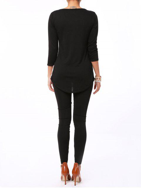 sale Hollow Out Elastic Leggings - BLACK ONE SIZE Mobile