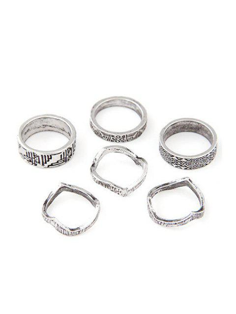 outfit Tribal Style Carve Golden Rings - SILVER ONE-SIZE Mobile