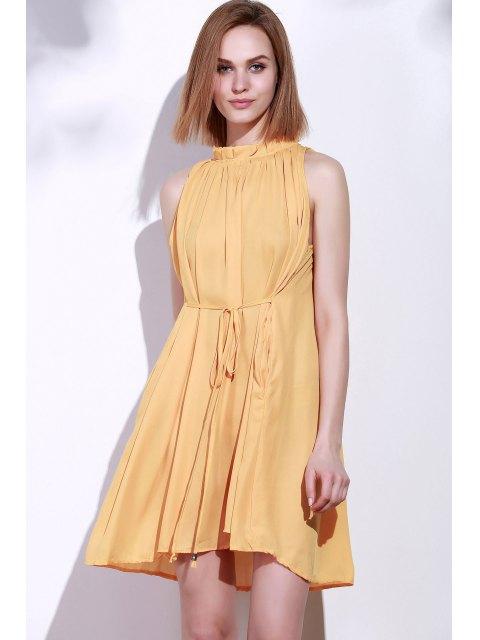 women Round Neck Ruffle Tie-Up Sleeveless Dress - DEEP YELLOW XL Mobile