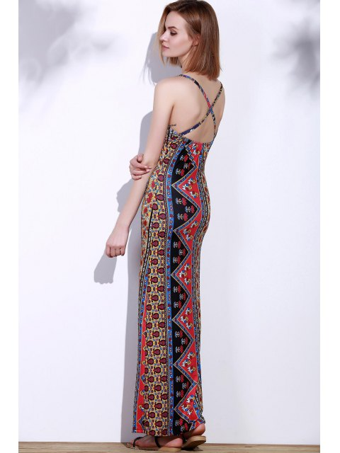 chic Cross Floral Print Sleeveless Dress - RED S Mobile