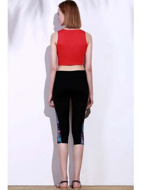 new Side Panel Skinny Capri Pants - BLUE AND BLACK S Mobile