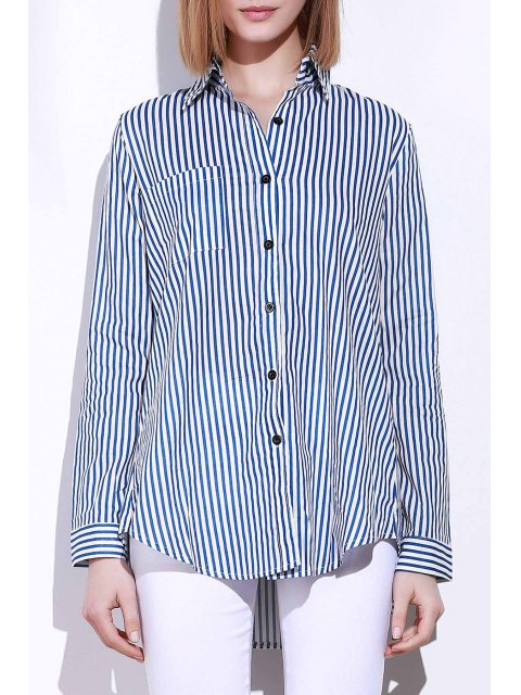 women Blue White Stripes Long Sleeve Shirt - BLUE AND WHITE L Mobile