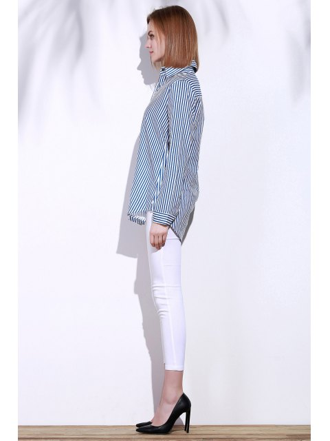 Chemise à manches longues Blue White Stripes - Bleu et Blanc S Mobile